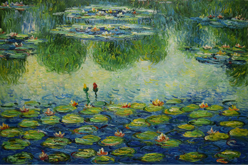 Hand Painted Water LIly Pond Claude Monet Painting ...