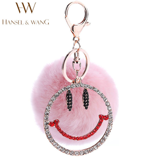 New Smile Face Rabbit fur Ball Keychain Fashion Phone Pendant Rhinestone  Pom Pom Keychain Jewelry Bag Charm Car Key Holder 2KC79 d9be1baded386