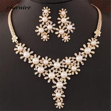 Xiacaier Flower Jewelry Sets For Women Simulated Pearl Gold Color Rhinestone Necklace Earrings Set Wedding Bridal Party Costume