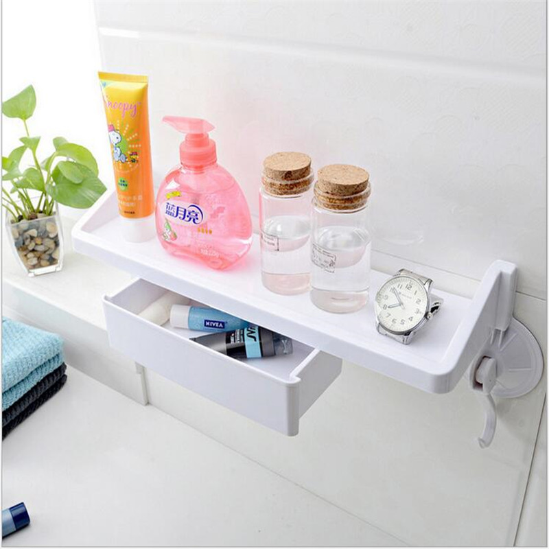 Decorative Wall Mounted Shelf And Storage Drawer : Strong suction cup wall mounted towel soap storage rack