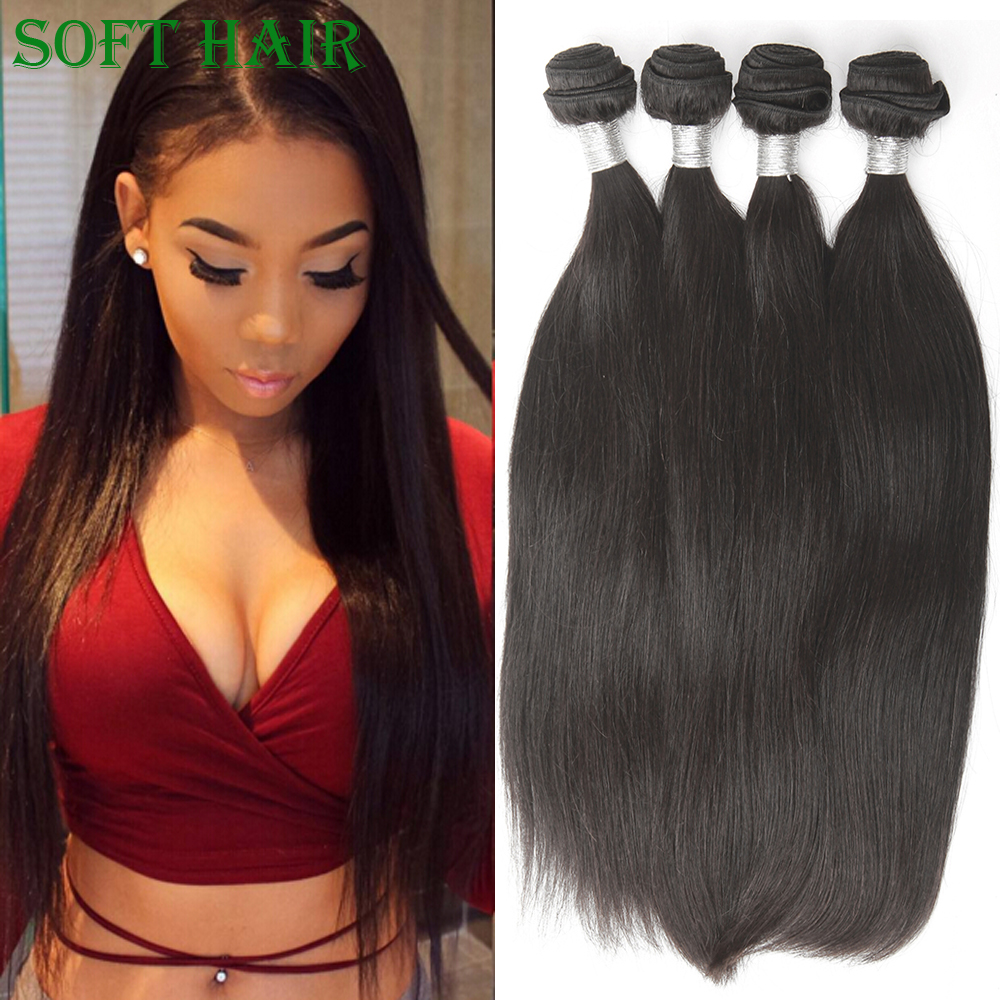 Virgin Indian Hair Straight Natural Black Remy Human Hair 4pcs