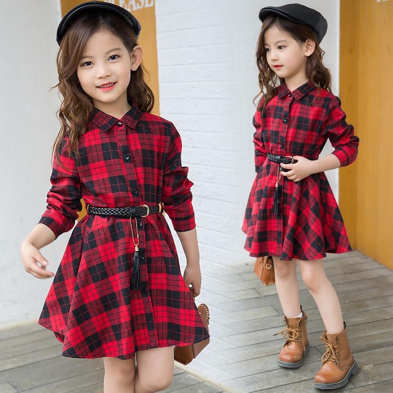 2018 Elegant Girls Casual Long Sleeve Plaid Shirt Dress With Belt Fashion Teenager Blouse Dresses 4 5 6 7 8 9 10 11 12 13 Years