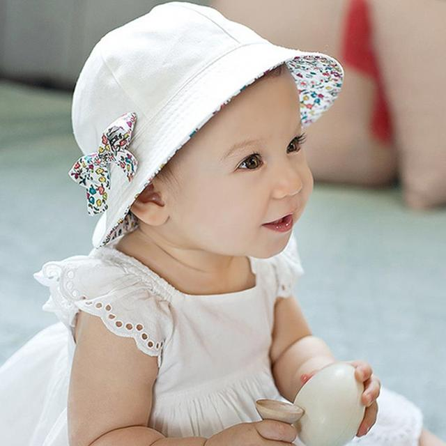 54205a03290 2019 Fashion Baby Girl Hats Summer Two Sided Cap Hat Infant Kids Children  Floral Bowknot Sun