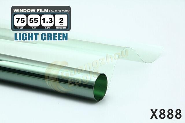 1.52 * 30 m de alto rendimiento del coche del animal doméstico Solar Car Window Tint Film Foil envío gratis / verde claro / box X-888