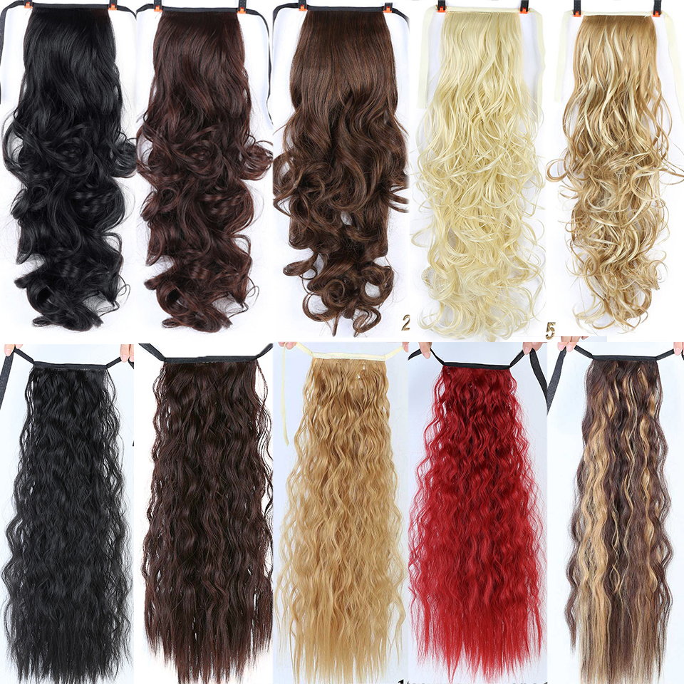Allaosify 22''Long Silky Straight Ponytails Clip In Synthetic Pony Tail Heat Resistant Fake Hair Extension Wrap Round Hairpiecer