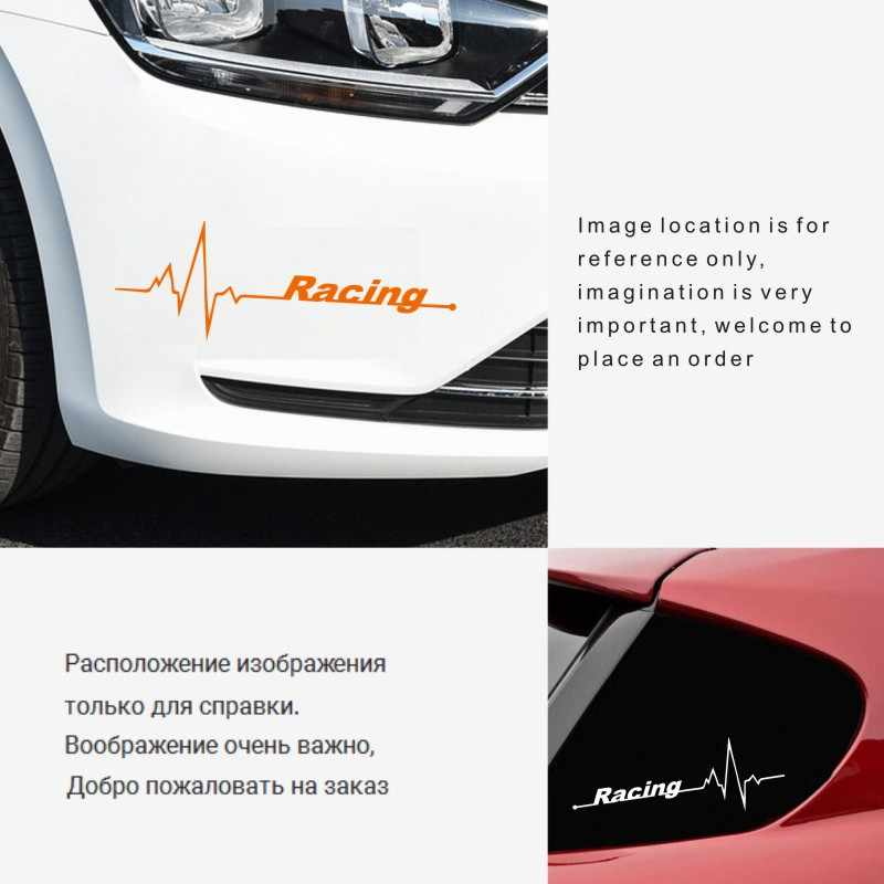 Stiker Mobil 3D Stiker Racing Heart Beat Mobil Sepeda Motor Stiker Mobil Styling Decal Reflektif Tahan Air 14*5 CM Custom stiker