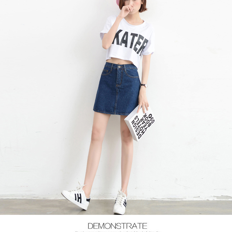 Lucyever Fashion Korean Summer Women Denim Skirt High Waist Black Mini Skirts Package Hip Blue Jeans Harajuku Plus Size Cotton 11