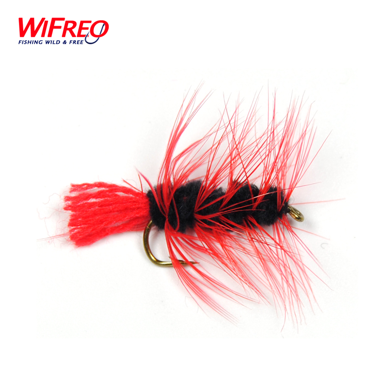 10PCS Free Box Red Woolly Worm For Bass Trout Pike Fly Fishing Flies Wifreo