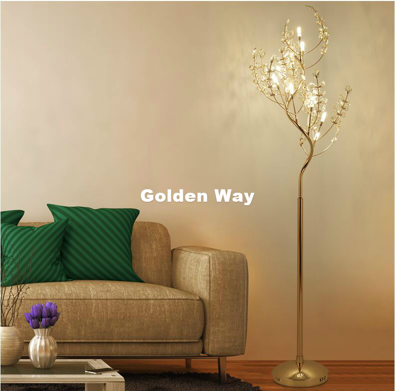 Free Shipping Modern Iron 9 Lights Crystal Table Lamps Antique Retro Crystal Floor Lights Living Room Bedroom Decora Lighting modern crystal floor lamp with fabric shade contemporary crystal floor lighting crystal floor lamps living room floor lights