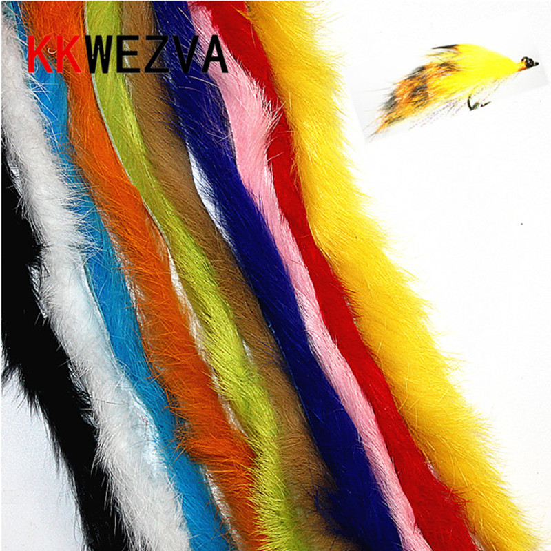 KKWEZVA 2M Rabbit Fur Hare Zonker Color for Fly Tying Material Streamer Fishing Flies 5mm Wide fly fishing lure Insect Trout wifreo 1pack 30cm crimped kinky minnow fiber streamer fly fibers bucktail jig head tying material for fly fishing bass lure