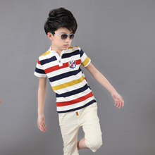 Summer Boys Short-sleeved Suit Childrens Cotton Striped T-shirt + Shorts Teenager Clothing Set 2pcs