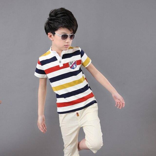 Summer Boys Short-sleeved Suit Children's Cotton Striped T-shirt + Shorts Teenager Boys Clothing Set 2pcs