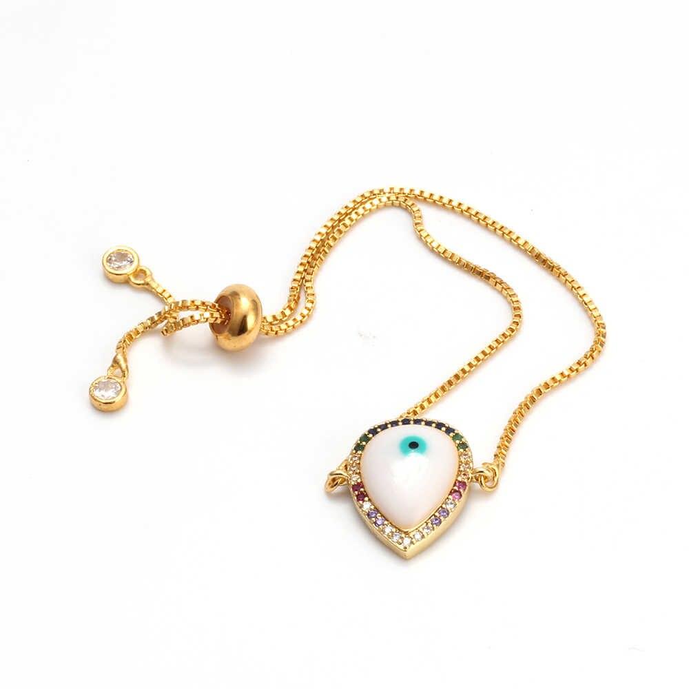 Bracelet mauvais œil or Rose couleur argent chaîne turc oeil Bracelet à breloques réglable Micro Pave bijoux pour femmes femme EY6282