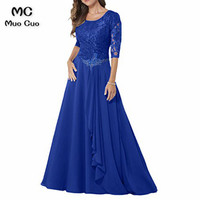 2018 Royer blue Mother of the Bride Dresses with Lace 3/4 Sleeves dress for graduation Mother of the bride dresses for weddings
