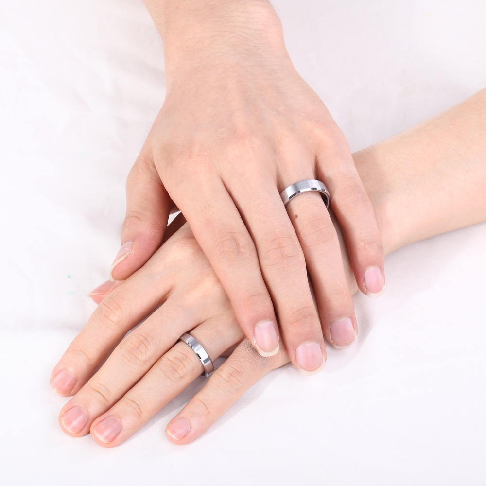 4MM Silver Tungsten Carbide Women Ring Brush Polished Beleved Edge ...