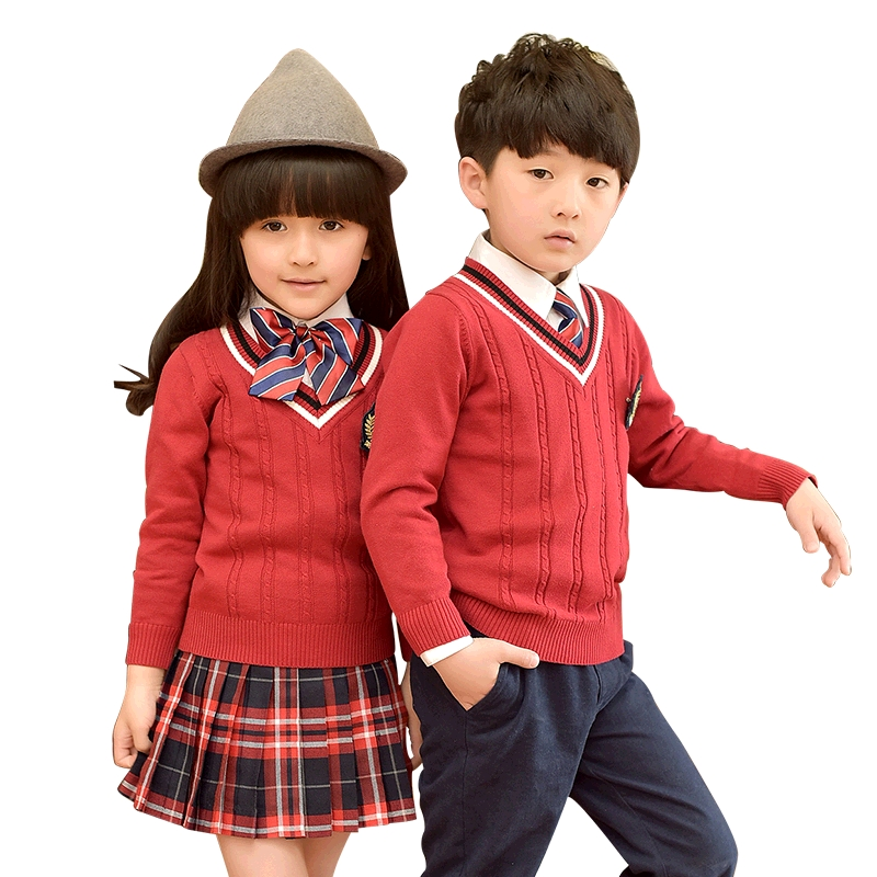 2018 Fashion Children Uniforms Boys Girls Long-sleeved Sweater Autumn Winter School Uniforms Cotton Skirt Pants Suits 3-10T