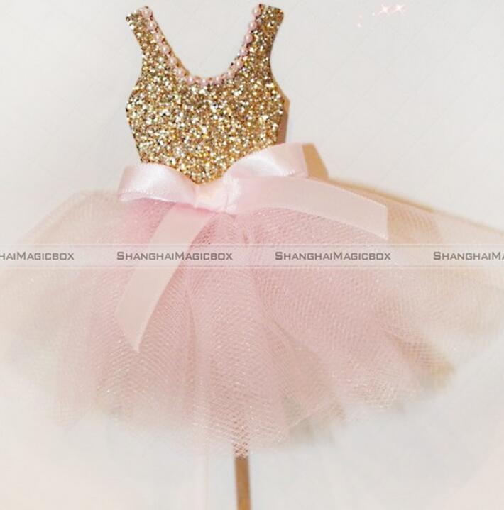 Fabuloso 6 unids Glitter Ballerina Cupcake toppers Rosa vestido Cupcake  QO99