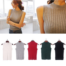 Korean Women Summer Mock Neck Top Turtleneck Sleeveless T-shirt Slim Club Knitted Vest Female Tee Knitwear