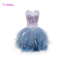 Fishday Evening Dress Black Tulle Red Gray Feather Off Shoulder Short White Girls Sweetheart Ball Gown Abendkleider Formal B30