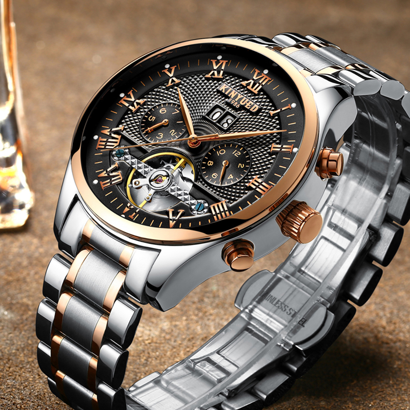 KINYUED brand Mens watches Self-Wind Tourbillon Mechanical clocks Water Resistant Automatic Skeleton Watch Mens Relojes HombreKINYUED brand Mens watches Self-Wind Tourbillon Mechanical clocks Water Resistant Automatic Skeleton Watch Mens Relojes Hombre
