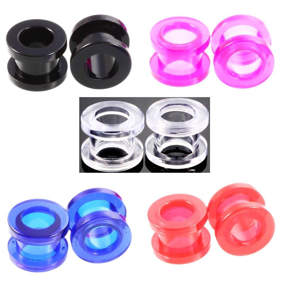 1 Pair Mix Color Clear Acrylic Red Liquid Blood Ear Gauges 2-24mm Ear Plug Earrings Gauges Body Piercing Jewelry Piercing