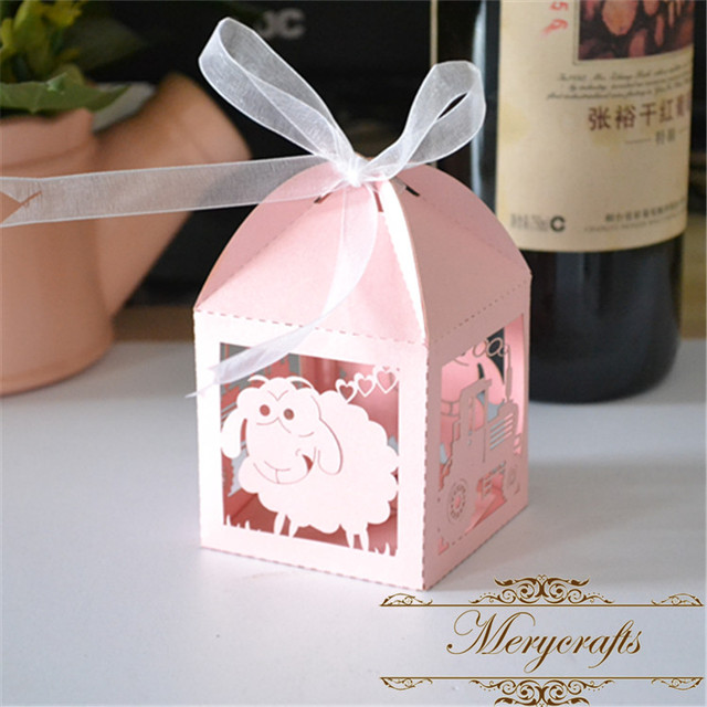 Us 13 5 Favor Boxes Fancy Sheep And Tractor Design Baby Shower Decoration Laser Cut Paper Craft Rustic Small Gift Boxes In Gift Bags Wrapping