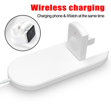 Newest 2-in-1 Wireless Charger Pad For iPhone X XS MAX XR 7 8 Plus Fast Charging For Watch 1 2 3 4 Mobile Phone Chargers raxfly wireless 3 in 1 charger for iphone max xr xs x 8 7 plus fast charging watch for airpods phone chargers for iphone 6 6s 5
