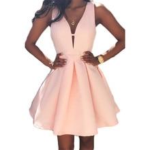 Sexy Dress Summer Sleeveless Deep V Slim Mini Dresses Pink Purple High Waist Fashion Chic Pleated Dress Vestidos Feminina LD785