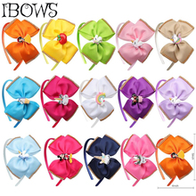 5'' Solid Hair Band for Girls Grosgrain Ribbon Headband Rhinestone Cartoon Patch Knotted Hair Hoop Candy Color Hair Accessories