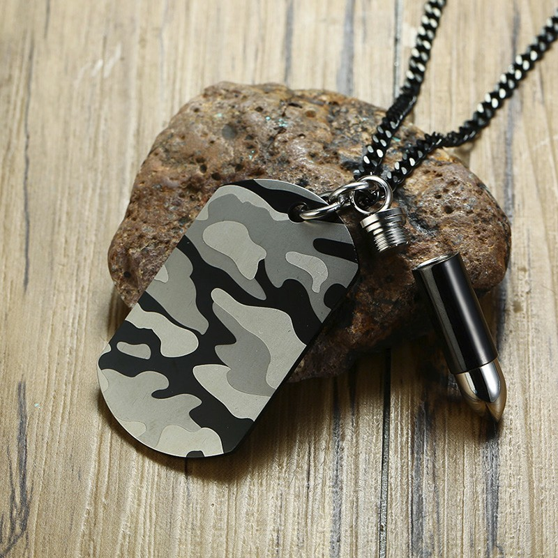 MPRAINBOW Custom Stainless Steel Ashes Urn Camouflage Dog Tag Black Bullet Name Pendant Necklace Men