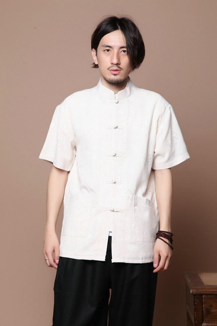 5127bf3b4 قصيرة الأكمام الأعلى للرجال الملابس التقليدية الصينية تانغ أعلى الكونغ فو  تاي تشي الموحدة بلوزة معطف للرجال