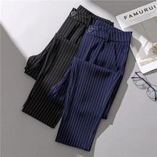 f5c10390e1 JUJULAND a rayas Pantalones negro Mediados de cintura cónica zanahoria  pantalones de verano de las mujeres