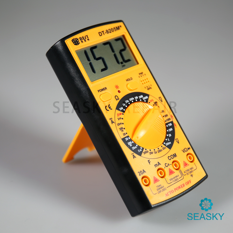 DT9205M + Numérique LCD Multimètre avec couvercle de protection Compteur Électrique AC DC Ohm Voltmètre Ohmmètre Ampèremètre blocage des données testeur