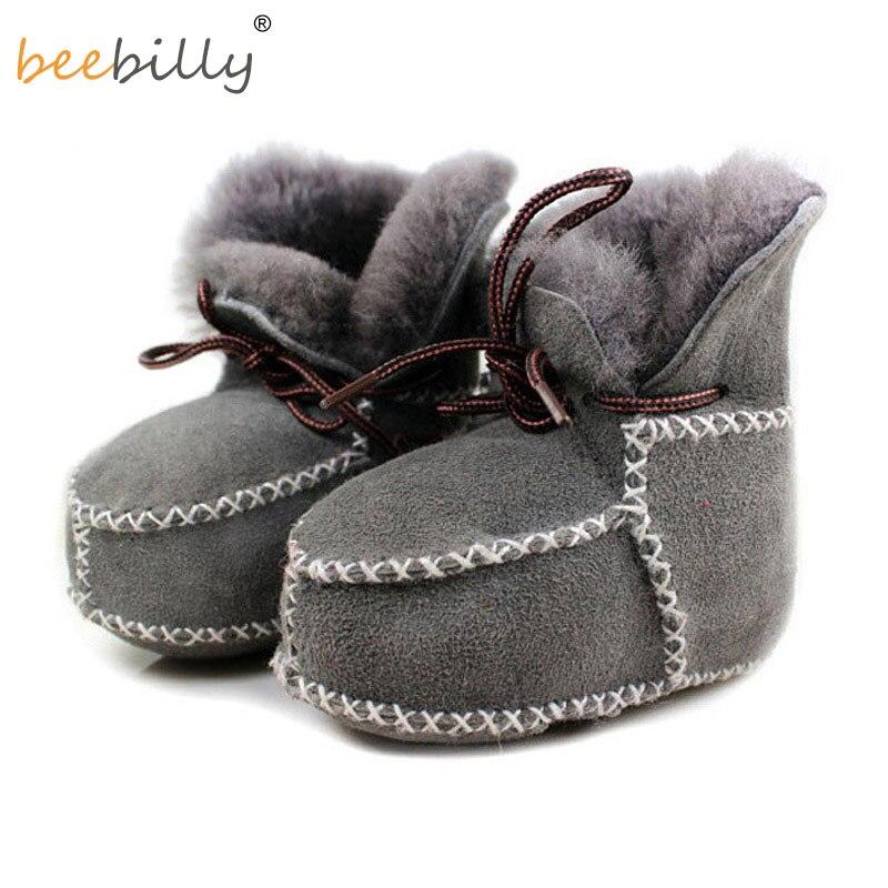 Téli valódi bőr bébi hócipő lány újszülött meleg első gyalogosok csecsemő kisgyermek lágy talpas szőrme csizma bárány cipő