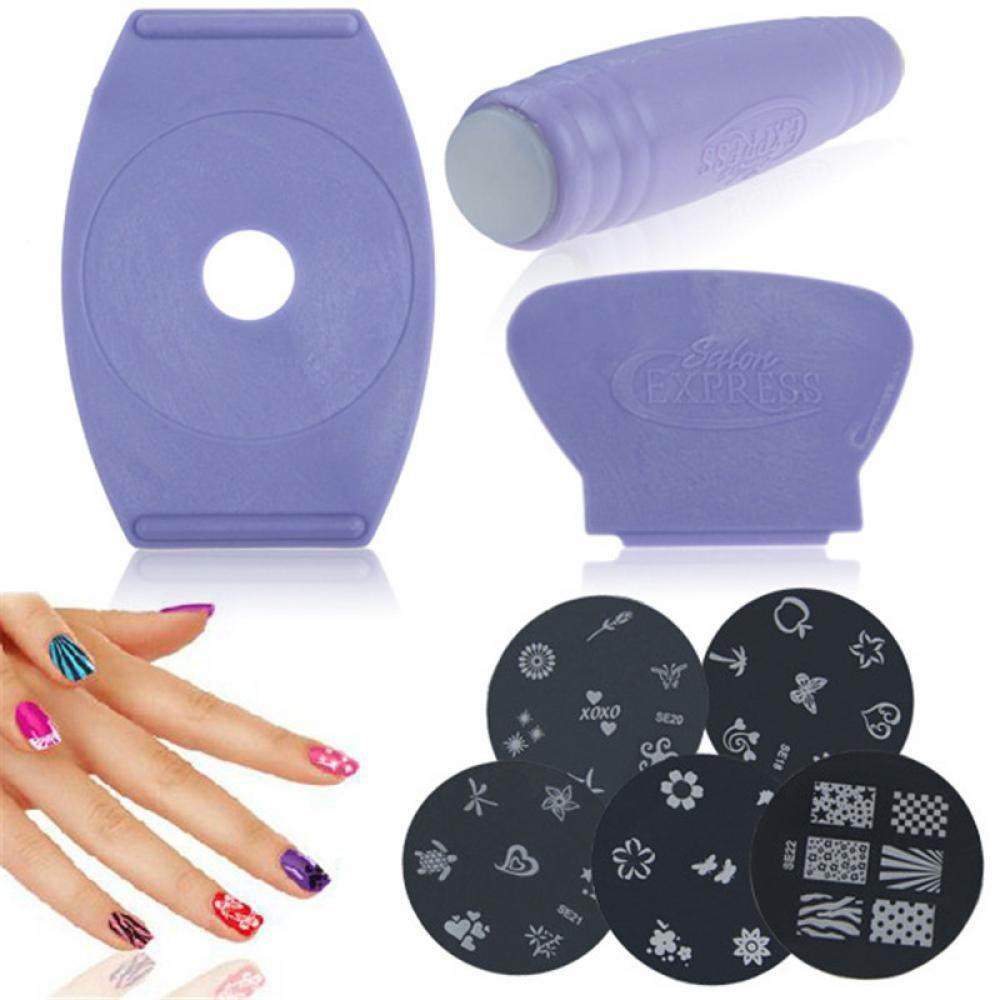 Beauty Nail Polish Scraper Art Stamp Stamping Image Plates Manicure Stencil 1set