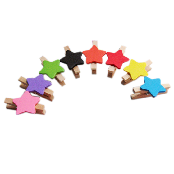 Random Colors Star Shape Wooden Clips Message Photo Holder Card Mini Size Paper Pegs Decor(20 Pcs)