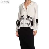 Manual Embroidery Floral V Neck Shirts Lantern Sleeve Blouse Vintage Ladies Office Wear Casual Tops Blusas