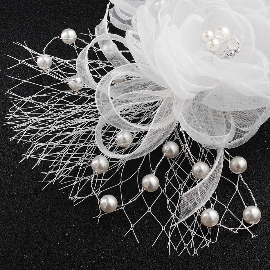 Miallo White Flower Cloth Bride Headdress Wedding Dress Hair Accessories Hair Combs Pearls Hairpieces for Women Headwear