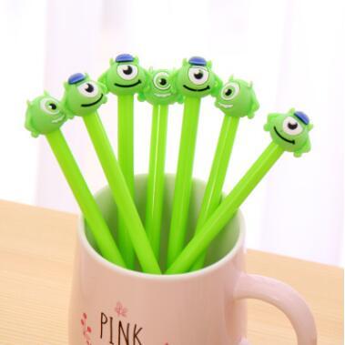 1  0.38mm 3D Gel Pens Green Big Eye Monster Erasable Pens For Writing Cartoon Black Ink Pen Stationery School Supply Lapices