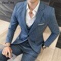 UPS Frete Grátis Listra Azul Blazer Ternos Um Botão dos homens Ternos de Casamento Dos Homens Feitos Sob Encomenda Sob Medida Blazer Para Os Homens (blazer + calça + colete)
