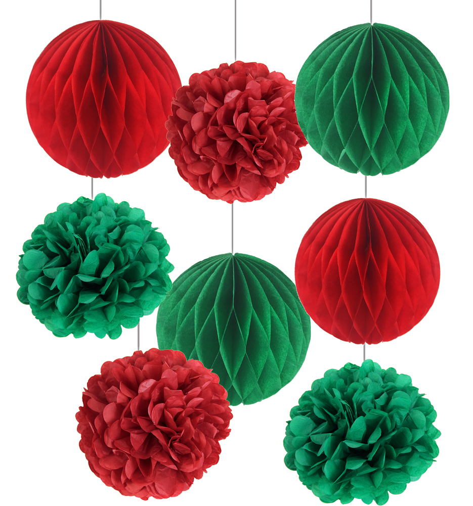 Merry Christmas 8Pcs Red / White Green Home Decoration Tissue Paper Honeycomb Balls Flower Pom Decorative