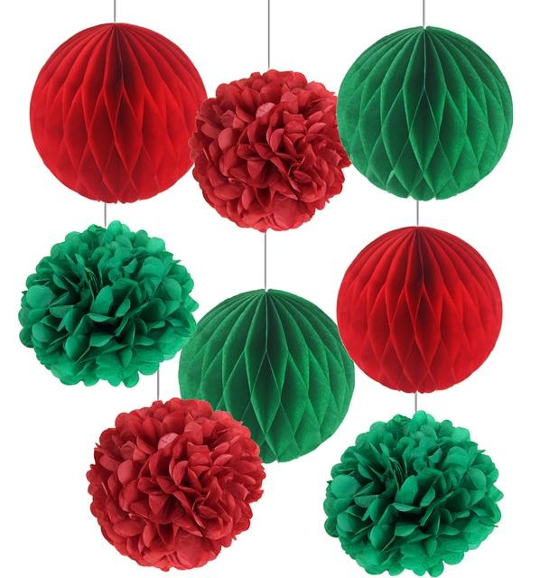 Merry christmas 8pcs red white green christmas home decoration merry christmas 8pcs red white green christmas home decoration tissue paper honeycomb balls paper mightylinksfo