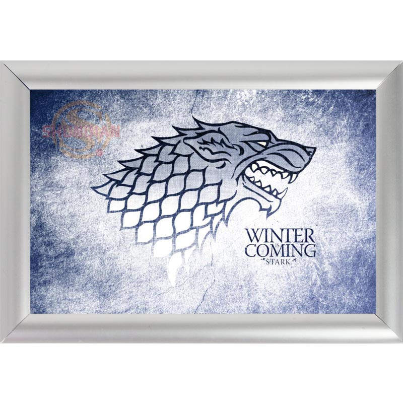 silver color aluminum alloy picture frame home decor custom canvas frame winter is coming stark logo