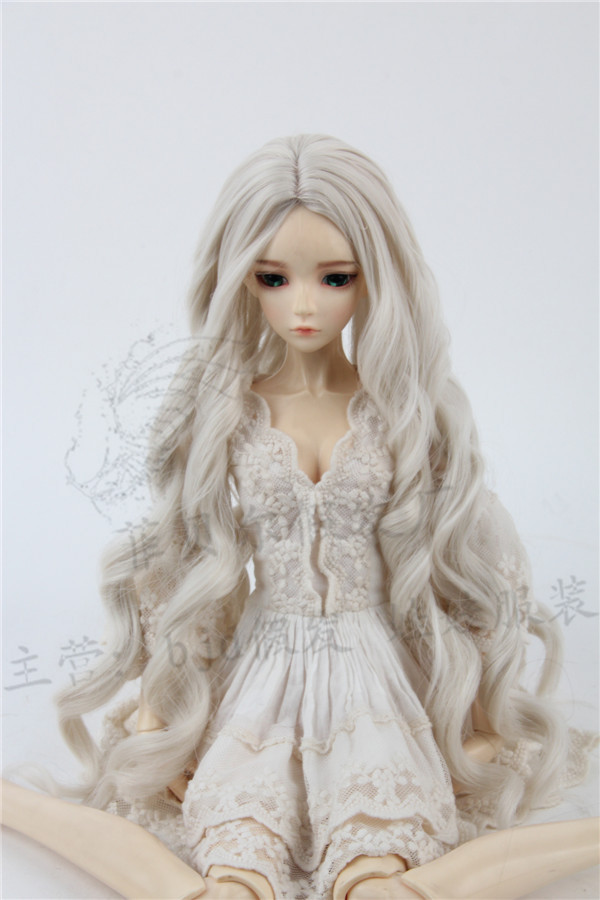 luodoll Sd bjd doll wig 1/3 in the sub-curling bell lily blue wave 3 points 60cm doll hair synthetic bjd wig long wavy wig hair for 1 3 24 60cm bjd sd dd luts doll dollfie cut fringe