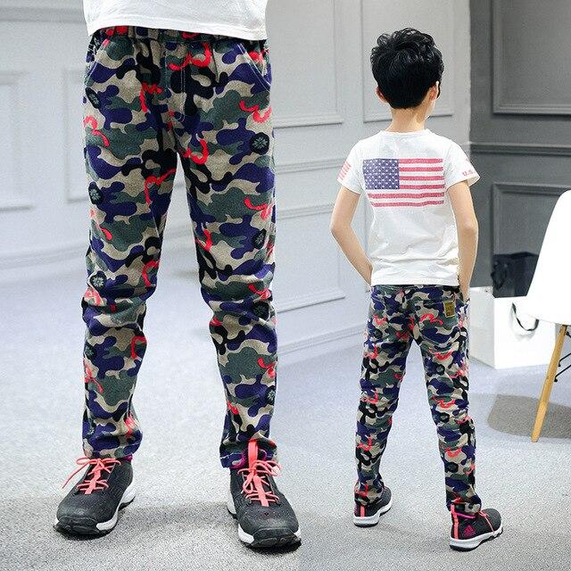 8c53b6f72 Pantalones de los niños para los muchachos algodón Casual ropa niños moda  camuflaje deportes pantalones de