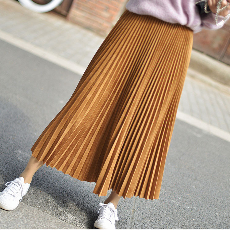 19 Two Layer Autumn Winter Women Suede Skirt Long Pleated Skirts Womens Saias Midi Faldas Vintage Women Midi Skirt 57