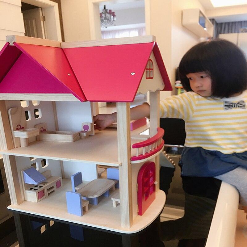 Детский деревянный кукла дом кукла Вилла со всеми комнатами твердой древесины Кукольный дом обувь для девочек подарок на день рождения с бесплатный подарок 55*37*52 см