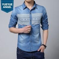 2019 New Spring Personalized Print Washed Denim Shirt Men Big Size 5XL Blue Men Shirt Long Sleeves Camisa Hombre Slim Fit Shirt