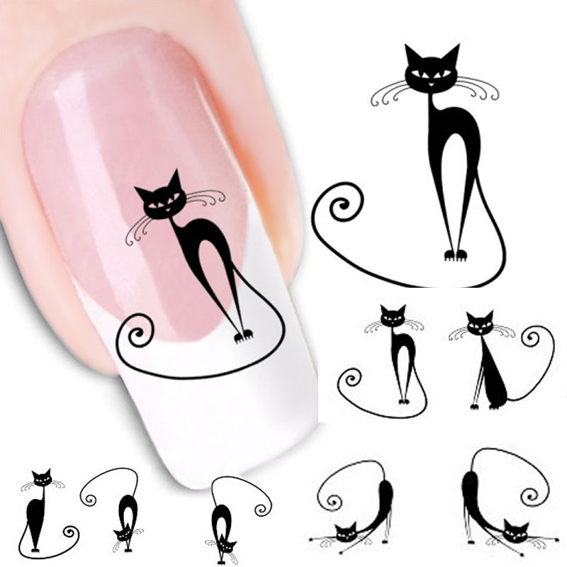 Beauty Girl Cat Water Transfer Slide Decal Nail Sticker Nail Art Tips To Decor XF1442 Aug 24