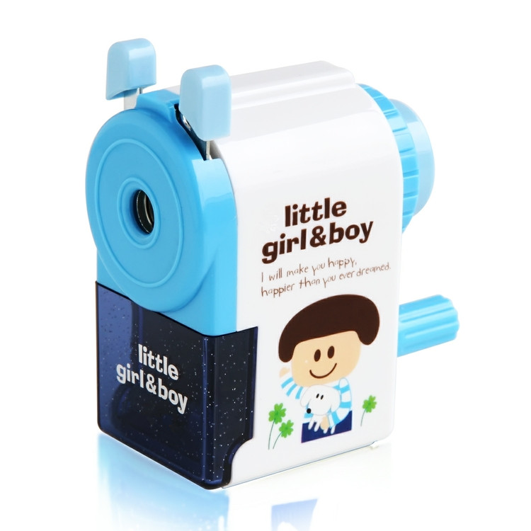 Freeshipping school stationery girls and boys pencil sharpener with blue and pink colors ,MOQ one piece ,free gitts per parcel